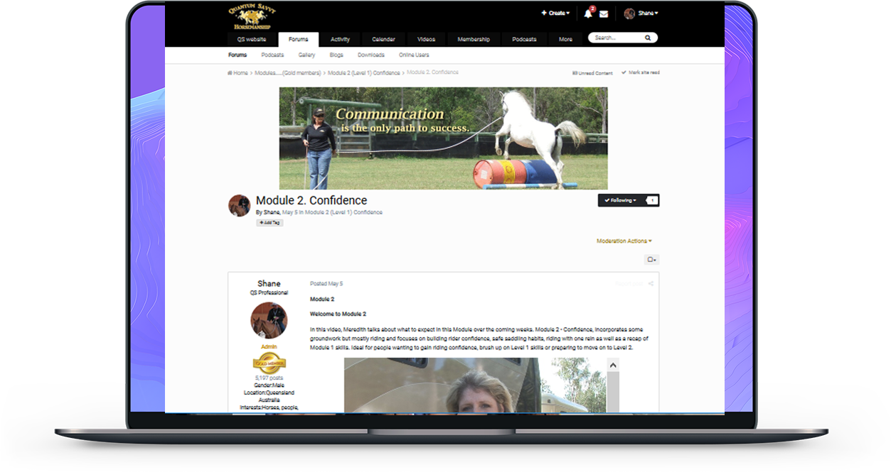 Horsemanship education and coaching online.